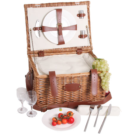 'Cream Trianon' leather picnic basket – for 2 people
