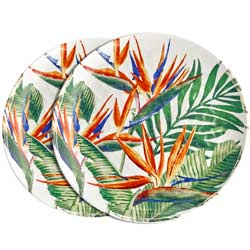 Large melamine dinner plate - Exotic Flowers. 2 pieces