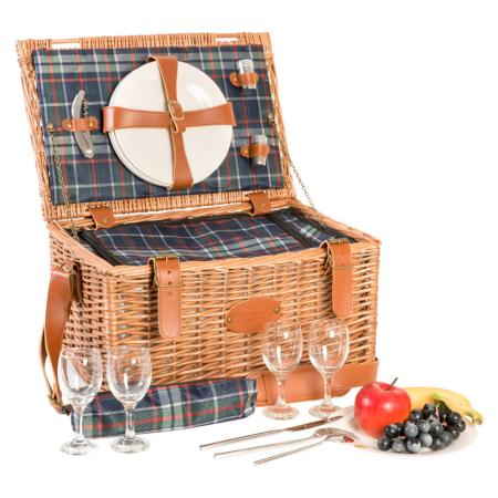 """Trianon Blue"" Picnic basket for 4 people"