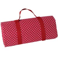 Burgundy red with white polka dots picnic blanket with waterproof backing (280x140cm)