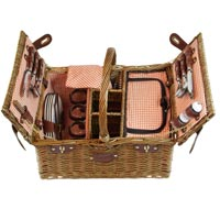 Picnic basket for 4 people Orange gingham - 'Saint-Germain'