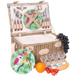 Picnic basket for 4 people with melamine plates - 'Bel Air'