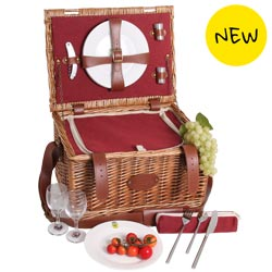 'Solid Red Trianon' Leather Picnic Basket – for 2 people