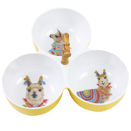 Three-Bowl Aperitif Set with bamboo - effect handle - 100% melamine - 23 cm - Llamas