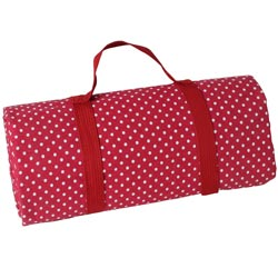 Burgundy red with white polka dots picnic blanket with waterproof backing (280 x 140 cm)