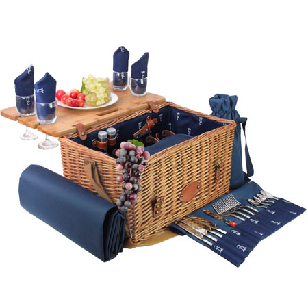 Innovative blue leather picnic basket - for 4 people - 'Saint-Honoré'