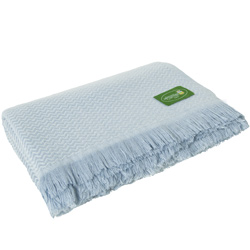 Sky blue lightweight cashmere and wool throw