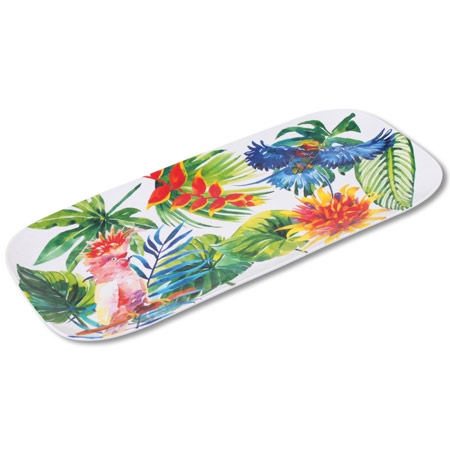 Long Rectangular Cake Dish - 100% melamine - 37,5 cm - Tropical Birds