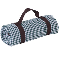 Green gingham picnic blanket waterproof backing  (140x140 cm)