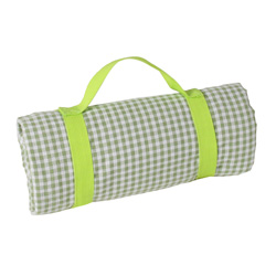 Square green apple gingham picnic blanket with waterproof backing (140 x 140 cm)