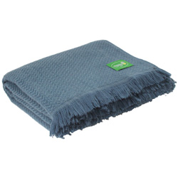 Blue lightweight cashmere and wool throw