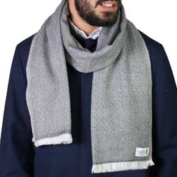Men's anthracite grey cashmere and wool scarf - Diamond pattern