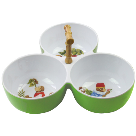 Three-Bowl Aperitif Set with bamboo - effect handle - 100% melamine - 23 cm - Bali's Monkeys