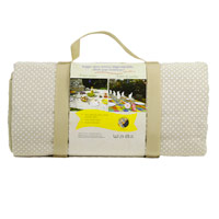 Beige with white polka dots picnic blanket with waterproof backing (280x140cm)