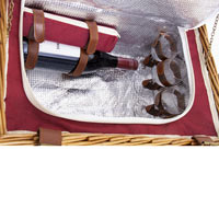 'Solid Red Trianon' Leather Picnic Basket – for 4 people