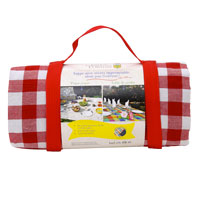 Large picnic blanket, big red squares, waterproof backing (280 cm x 140 cm)