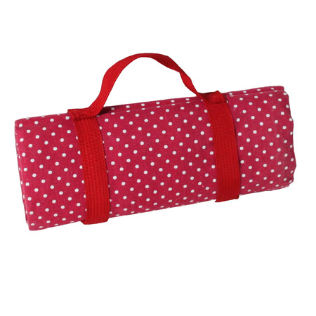 Burgundy red with white polka dots picnic blanket with waterproof backing (140x140cm)