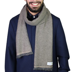 Men's Camel / Anthracite Grey two-tone cashmere and wool scarf