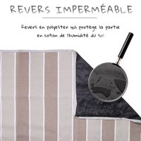 "Beige and white stripes picnic blanket ""Polo Club"", waterproof backing (140x140cm)"