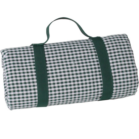 Waterproof picnic blanket with small dark green and white gingham squares XXL (280 x 140 cm)