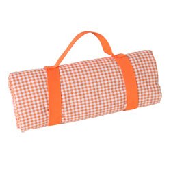 Orange gingham picnic blanket with waterproof backing (140 x 140 cm)