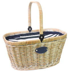 "Insulated whitened wicker hamper ""Chantilly Marine"""