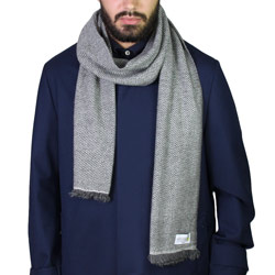 Men's Silver Grey / Anthracite Grey two-tone cashmere and wool scarf