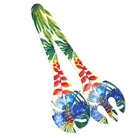 Salad servers in melamine - Tropical Birds
