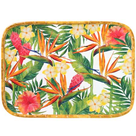 Rectangular tray with rounded corners - Bamboo-effect rim - pure melamine - 45 cm - Exotic Flowers
