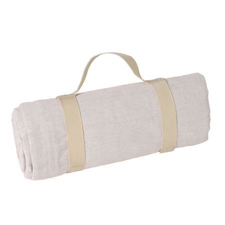 Beige picnic blanket with waterproof backing (140 x 140 cm)