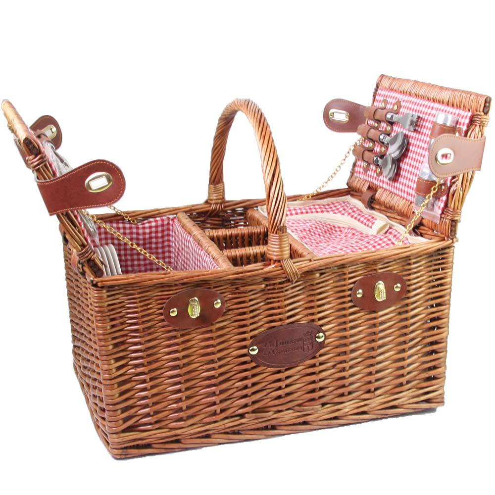 picnic basket for 4 people red gingham saint germain. Black Bedroom Furniture Sets. Home Design Ideas