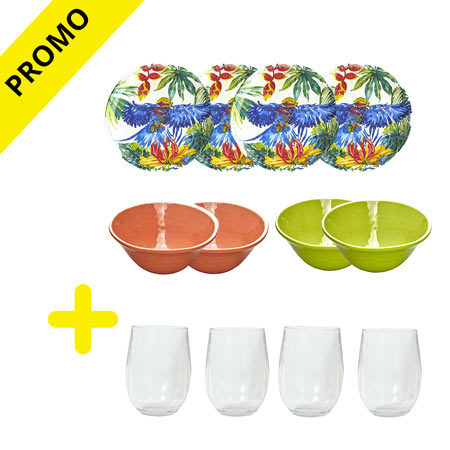 Pack melamine crockery Tropical Birds and United Colors / Glasses (-50%)
