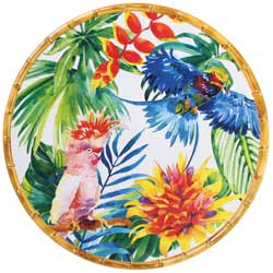 Round Serving Dish - Bamboo-effect rim - 100% melamine - 35,5 cm - Tropical Birds