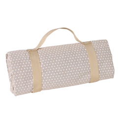 Square picnic blanket - beige with white polka dots