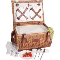 'Cream Trianon' leather picnic basket – for 6 people