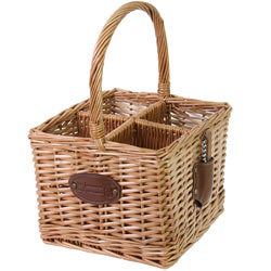 Wicker bottle basket - 4 racks