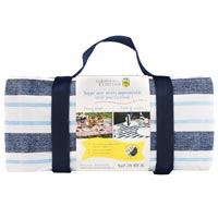 Waterproof picnic blanket blue and white striped (140 x 140 cm)