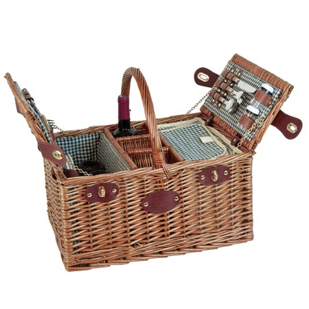 Picnic basket for 4 people Green gingham - 'Saint-Germain'
