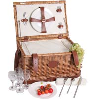 'Cream Trianon' leather picnic basket for 4 people