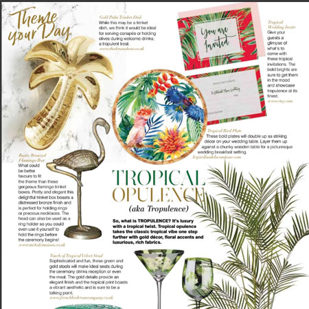 Our Round Serving Dish in melamine (Tropical birds) in an article