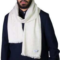 Men's almond beige cashmere and wool scarf - Diamond pattern