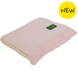 Reversible throw in cashmere and wool: light pink