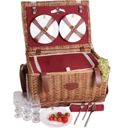 'Solid Red Trianon' Leather Picnic Basket for 6