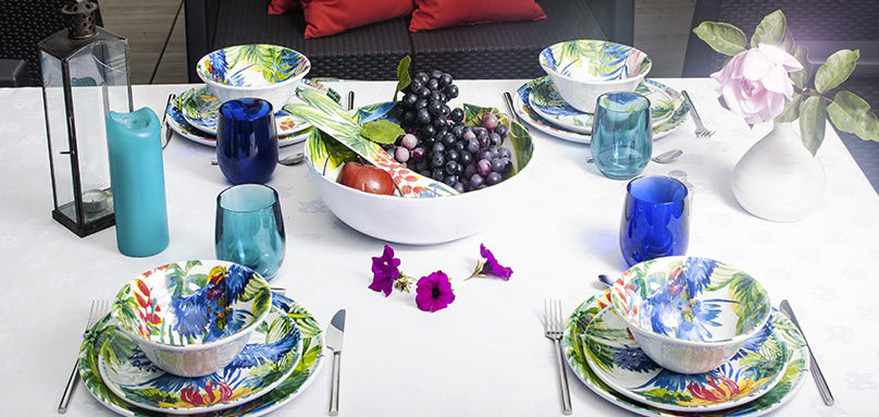 unbreakable tableware collection with melamine tropical motifs