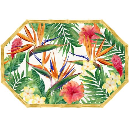 Octagonal Serving Dish - Bamboo-effect rim - 100% melamine - 40,5 cm - Exotic Flowers