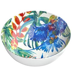Salad Bowl in melamine - Tropical Birds.
