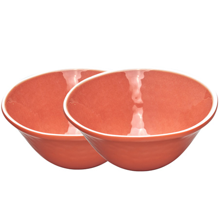 Bowl in melamine - Coral Red. 2 pieces
