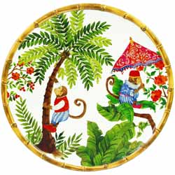 Large Dinner Plate - 100% melamine - 27 cm - Bali's Monkeys