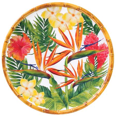 Large melamine dinner plate 28 cm - Exotic Flowers