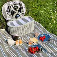 Tablecloth - picnic rug Versailles gray with waterproof lapel (140 x 140 cm)